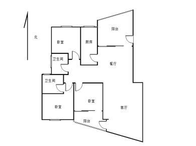 国贸阳光正规三居室双阳台