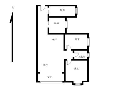 精装三房,77平,零公摊,使用面积大,楼下就是新华都