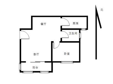 首开领翔花郡,正规一房两厅,客厅朝南带阳台
