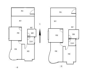 楼中楼,买一层送一层,业主隔成两套出租,两层6房,