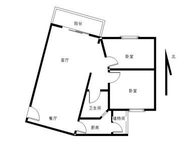 2室2厅75.61平方米朝东北
