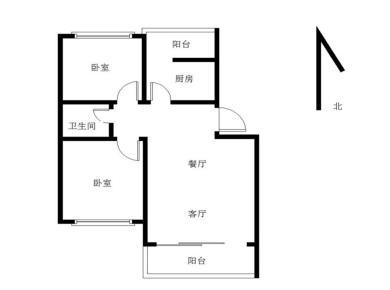 侨福城首付95万 1梯2户 正规2房 厅带阳台朝南 中楼层