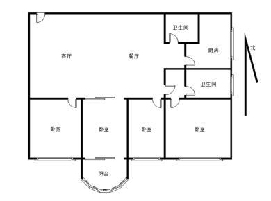 本人有实勘此房、四房朝南户型、边套东南朝向、看金榜公园