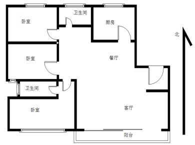 业主配合看房 嘉裕花园 正规3房2厅全明户型 东南北通透