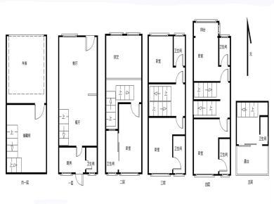 有天有地丨跃6层联排别墅丨送车库+露台+花园丨使用500平