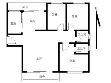 嘉盛豪园 精装三房 南北通透 边套三面采光 厅朝南