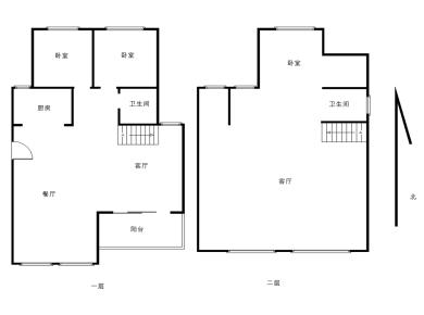 中航城C区 顶层洋房,毛坯 实用用2层 位置方便 近地铁小学