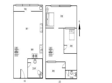 文灶 九龙城 中装三房 复式楼中楼 使用面积大