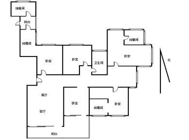 国贸天琴湾 5房2厅 285平 看中庭 东边套全明结构