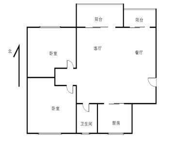 89平电梯2房南北通透 双阳台 可改三房