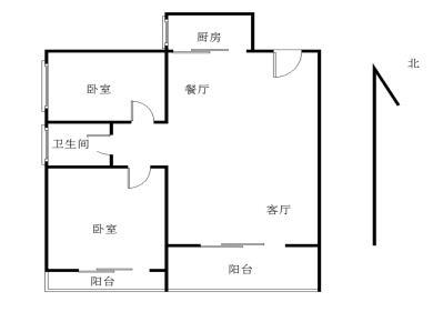 大学康城正规两房 户型方正客厅带阳台 中间楼层 采光不错