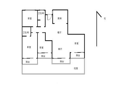 花园小区,自带60平花园,使用190平,毛坯四房、户型好、