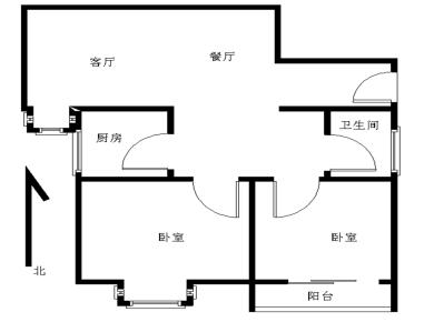 锦绣祥安,南北通透精装两房,户型方正