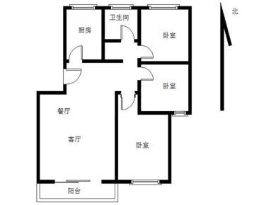 精装3房 厅带阳台朝南 小区中庭 中间楼层 北区一里