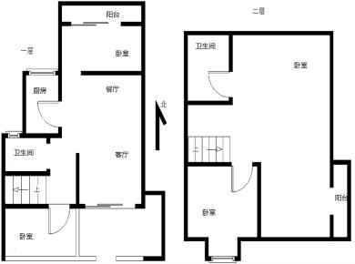 联合博学园 挑高6米楼中楼 边套A户型复式 可改4房 南北