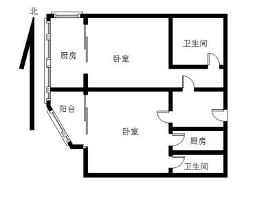 水晶国际、高层两房、户型东西通透、带超大露台