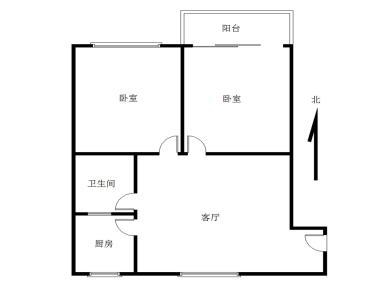 富山现代城 2室一厅 明发商业广场