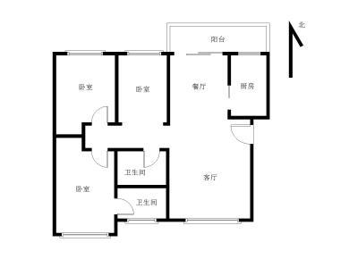 松柏龙福花园 03年框架精装3房 南北通透 全明格局