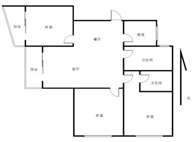20平方正规三房格局方正.适合改善性家庭或者刚需