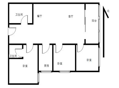 豪峰大厦 3室2厅1卫1厨1阳台 电梯房 地铁近