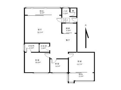 祥店 太微山庄 大3房 西南北3面采光 1梯1户 使用面积大