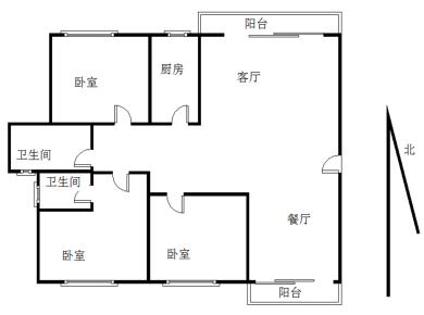 大三房二厅二卫,首付低的房屋出售中