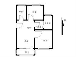 古楼北里 框架厅带阳台朝南 使用面积80平!送天台!